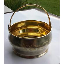 RUSSIAN STERLING SILVER GILDED CANDY DISH / TRINKET BASKET WITH HANDLE, 189.2 g!