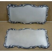 TWO Antique Silverplate Funeral Casket name plate Coffin Plaque Tags N.O.S