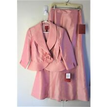 6 JS COLLECTIONS Formal / MOB Rose Pink Shantung Long Skirt Suit NWT Fishtail Pl
