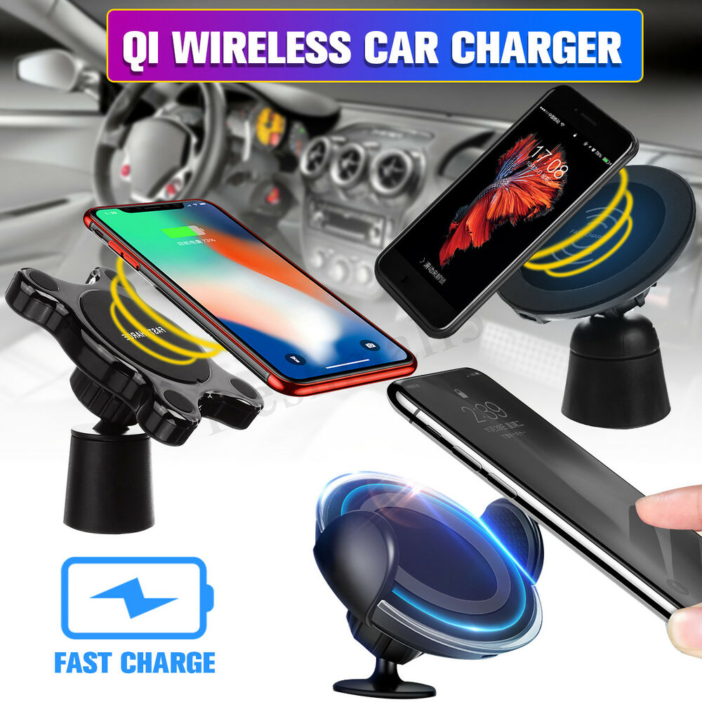 3in1 Qi Fast Wireless Charger Car Mount Holder Cell Phone