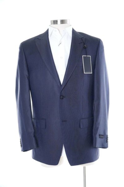 Sean John Classic Fit Navy Blue Striped 2 Button Blazer Sportcoat W/ Peak Lapels