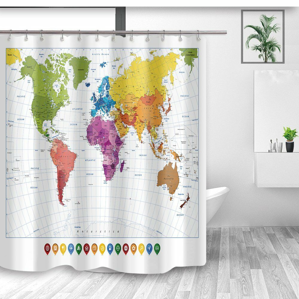 Details About Colorful World Map Shower Curtain Kids Education Bath Curtains For Bathroom