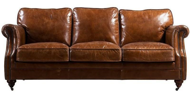 Luxury Distressed Vintage Tan Leather Handmade Sofa 3 Seater Settee Retro Ebay