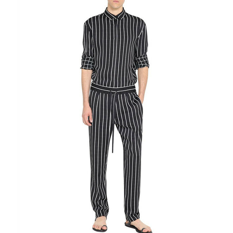 821a89b343df Details about Men s Long Sleeves Casual Striped Stand Collar Jumpsuits  Cotton Pants Romper