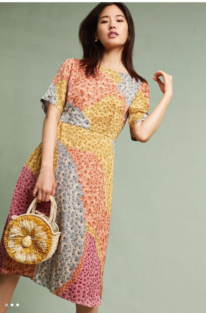 Nwt Anthropologie Catria Floral Mix Dress By Varun Bahl L
