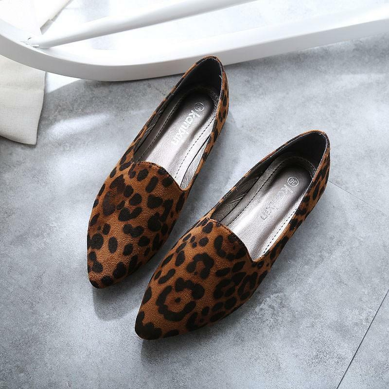 736a40555a43 Details about Fashion Womens Leopard Print Shoes Pointy Toe Slip On Flats  Driving Pumps Casual