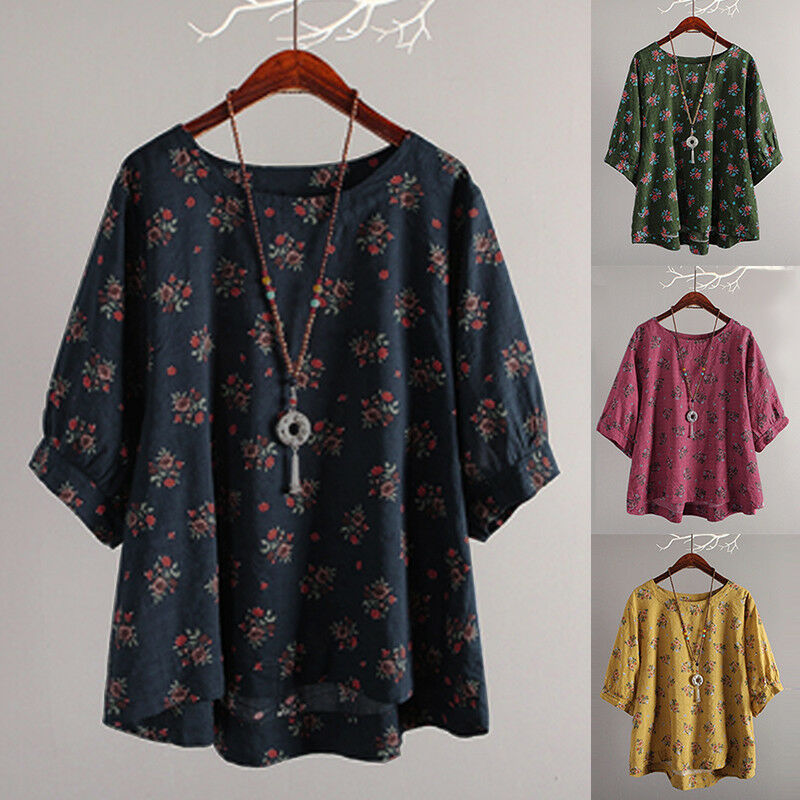 3982811e8c6ba Details about Womens 3 4 Sleeve Tunic Tops T-Shirt Floral Casual Baggy Blouse  Shirt Plus Size
