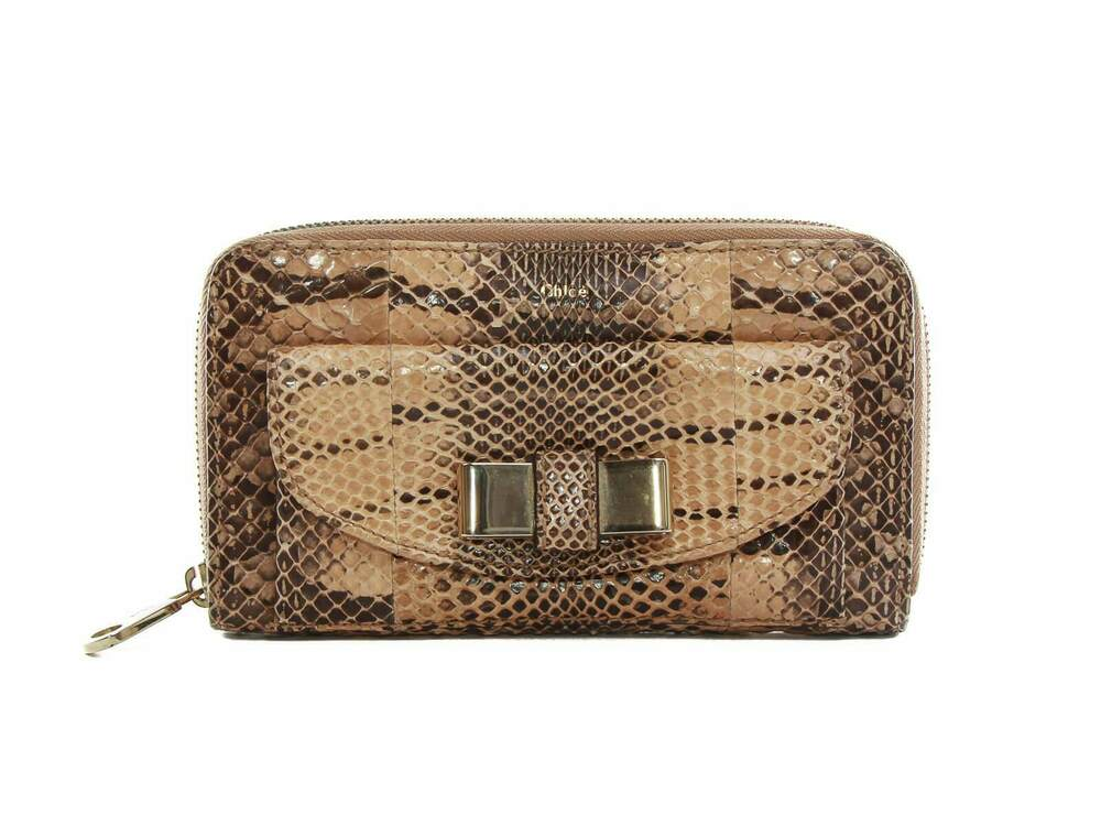 be05b830047b Details about Authentic Chloe Zippy brown Python bow wallet