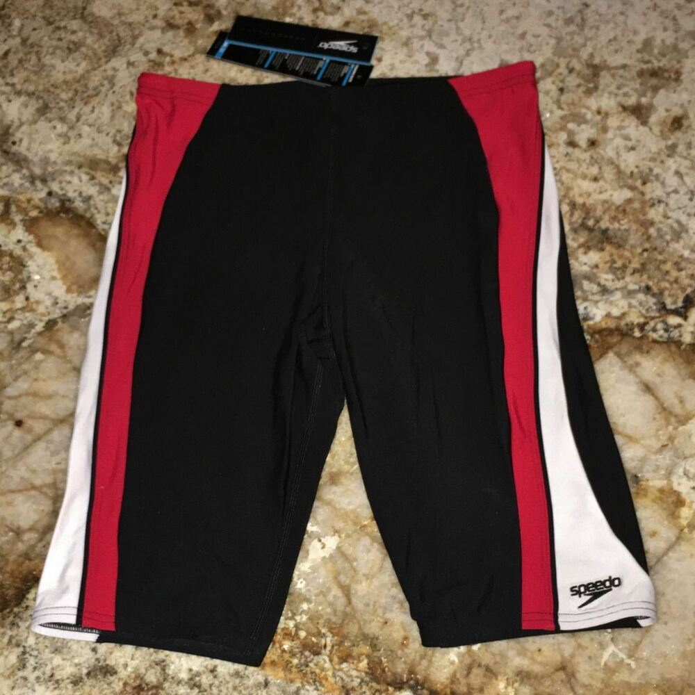 61a8313c18eaf Details about SPEEDO Sonic Splice Swim Jammer Male Shorts Black Red White  NEW Mens Sz 32 34 36
