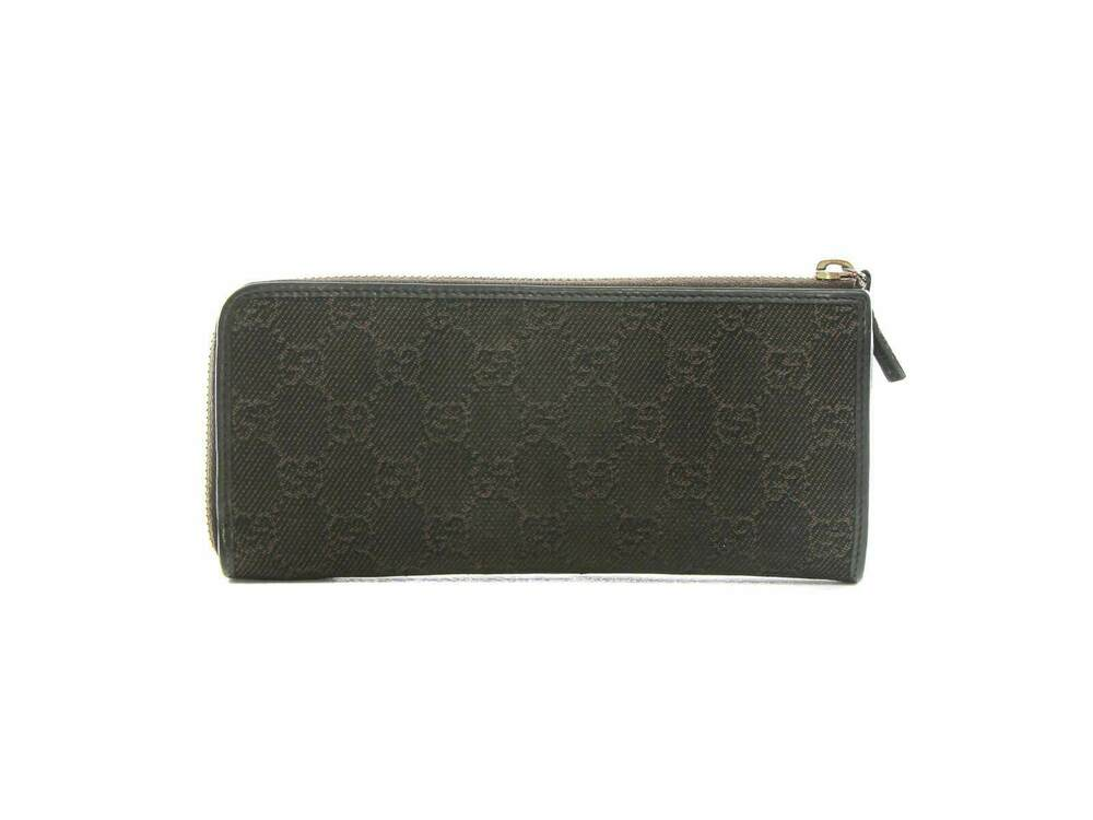 7c371b41d8fa Details about Authentic Gucci Brown 268917 Denim Guccissima GG Logo Zip  Around Coin Wallet