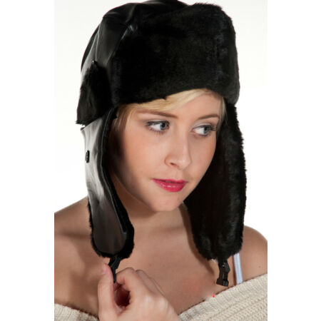 img-3x Unisex Black Leather Ushanka Winter Warm Russian Aviator Trapper Hat Ski Cap