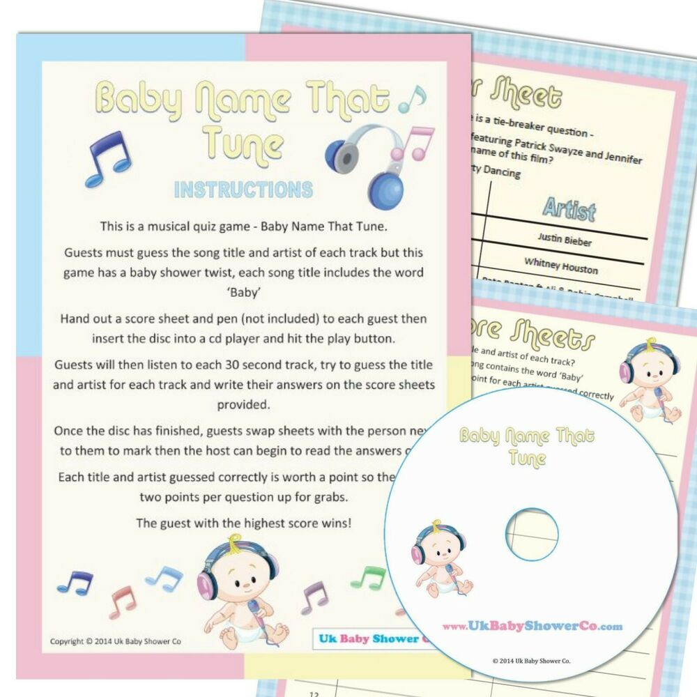 Baby Shower Game Name The Tune Unisex Party Boy Girl Music Quiz