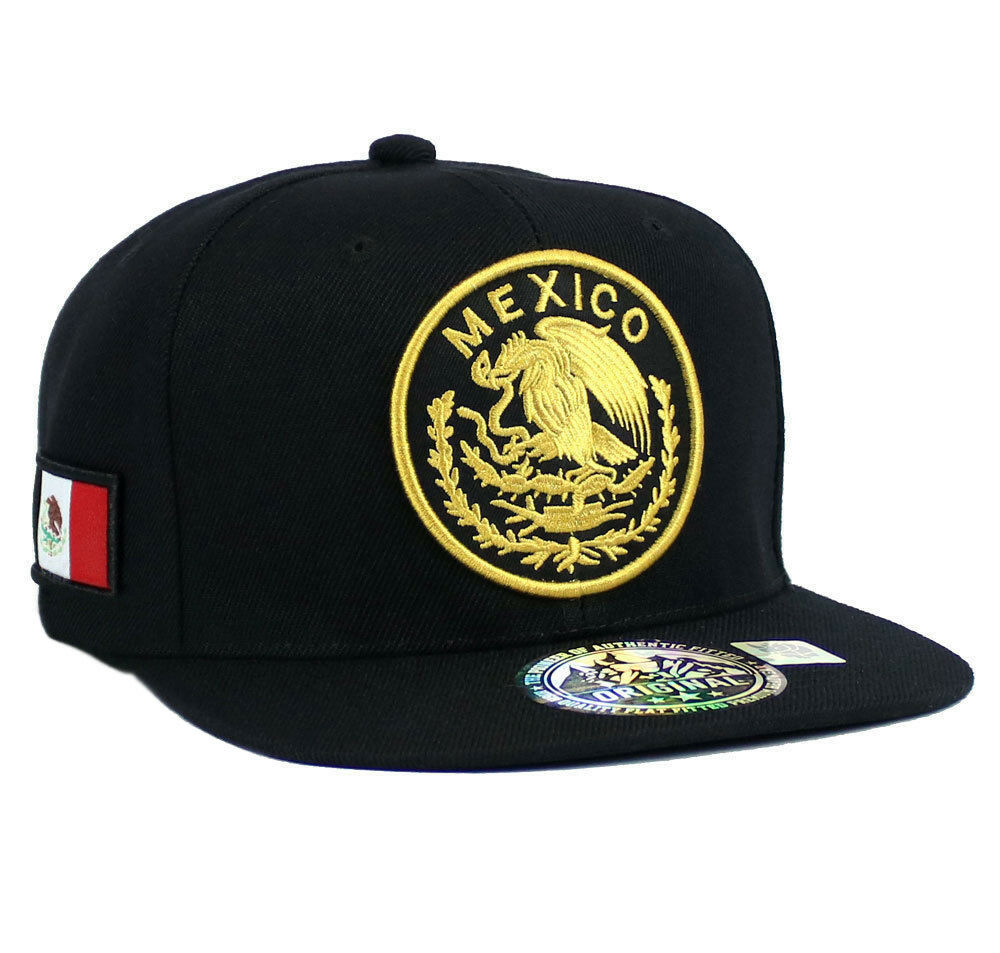 Details about MEXICAN hat Snapback MEXICO Federal Logo Embroidered Baseball  cap- Black Gold 642ec618190