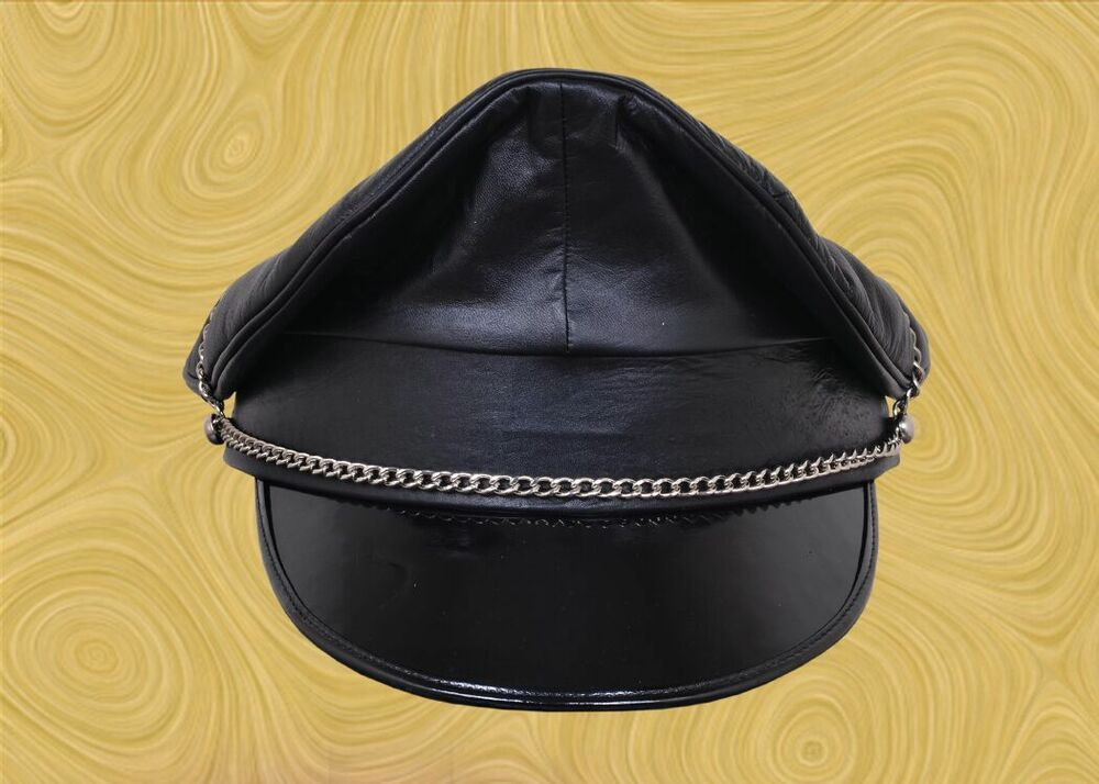 6a7a4810ace Genuine Leather Black Army Muir Biker Peaked Police Gay Military Cap With  Chain