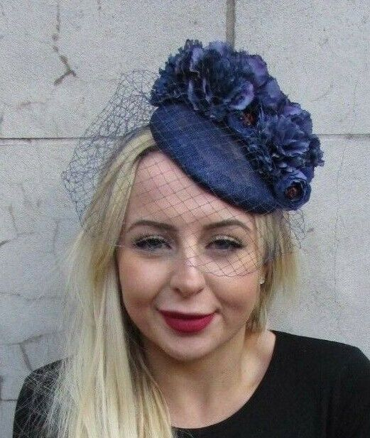 a3b9f174 Details about Navy Blue Flower Birdcage Veil Flower Fascinator Pillbox Hat  Races Floral 6891