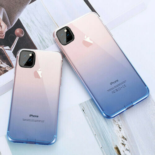 Gradient Color Clear Soft Silicone Slim Cover Case For iPhone XS Max XR X 8 7 6s