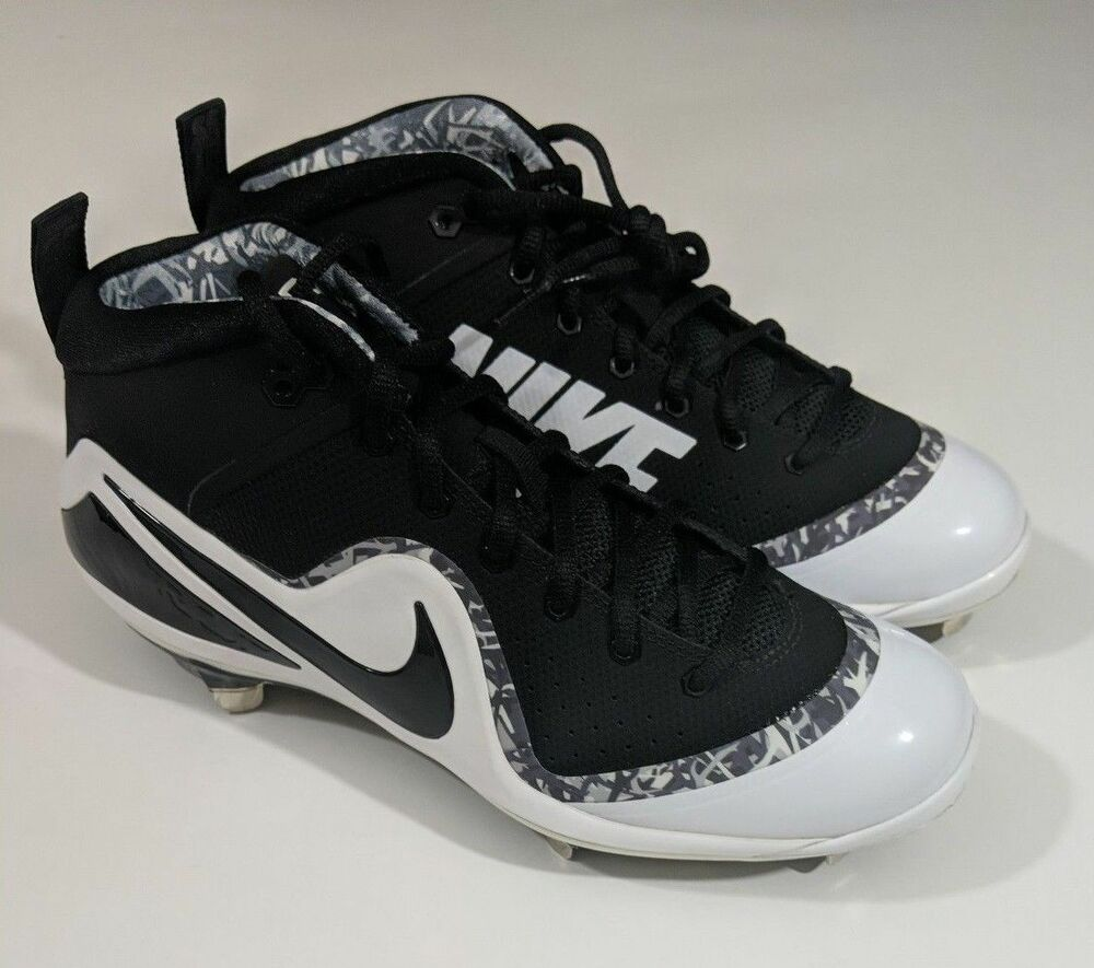 f2021eaeae122 Details about New Nike Force Zoom Trout 4 Mid Metal Mens Baseball Cleats -  Black   White Sz 9