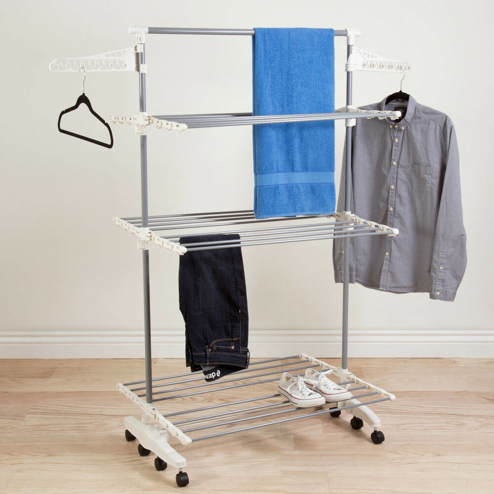 Everyday Home Rolling Stainless Steel Drying Rack Laundry Fold