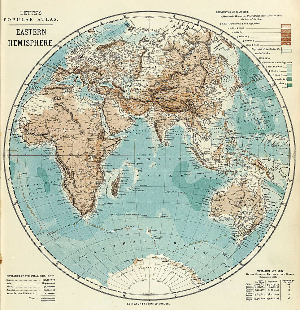 1883 Map Eastern Hemisphere Vintage History Wall Art Poster Home ...