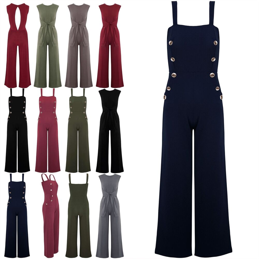 567e9bc8386d Details about Womens Ladies Front Button Wide Strappy Palazzo Flared Legs  Playsuit Jumpsuit