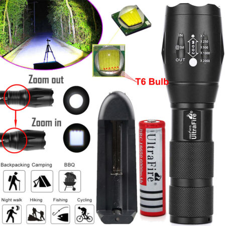 img-Ultrafire Zoomable Tactical 50000LM T6 LED Flashlight 18650 Torch Lamp +Charger
