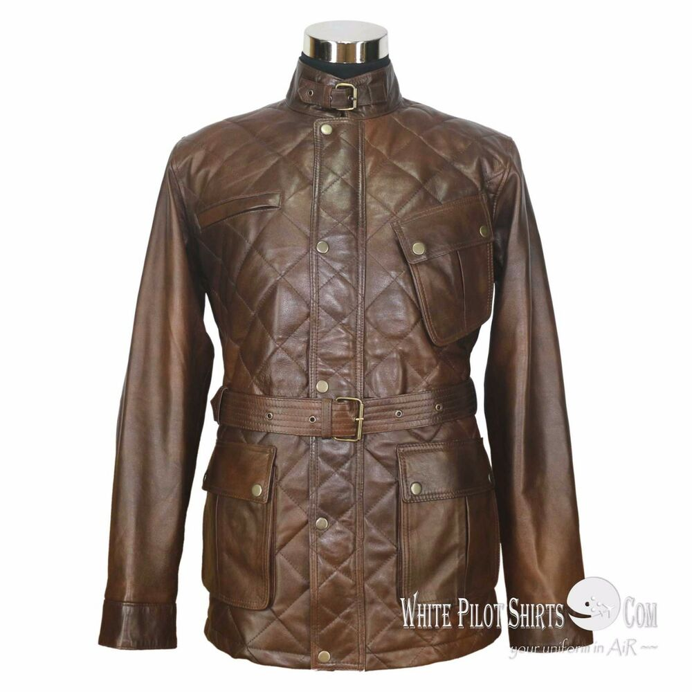 Details about Leather Jacket for Men Military Vintage Distress Antique Dark  Brown Belt Panther 9900427ba78