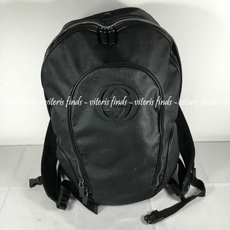 fb501378adca Details about Authentic Gucci Inerlocking GG Black Canvas Travel Backpack  Bag 223705