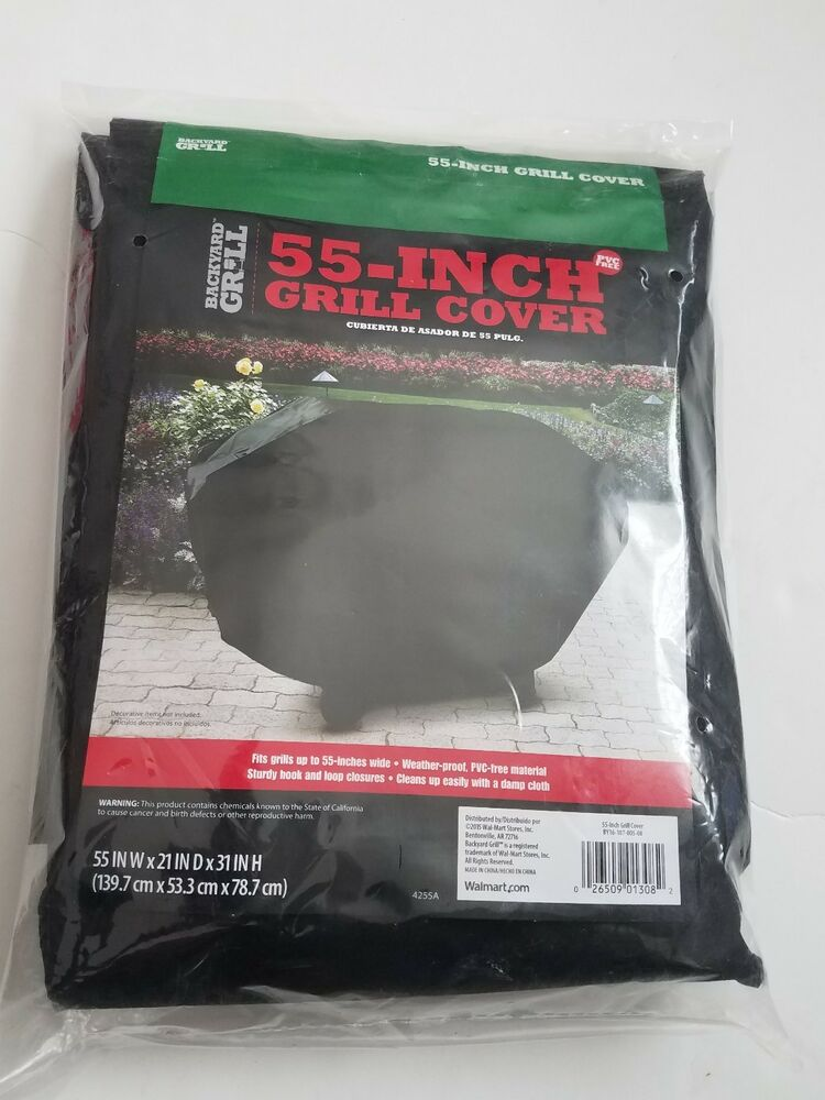 New Backyard Grill 55 Inch Black Grill Cover Weather Proof 55 X 21