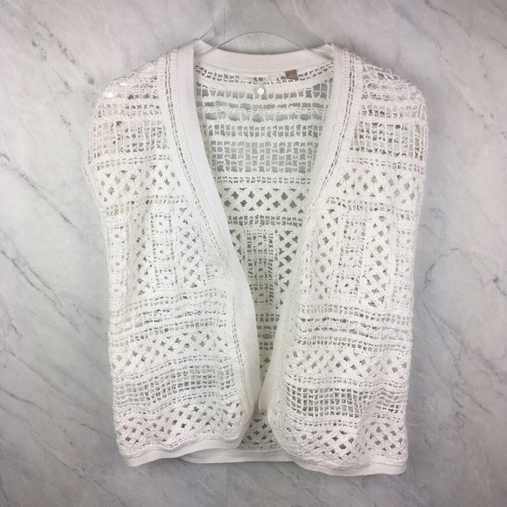 Knitted Knotted Cardigan Size M Womens Anthropologie White Crochet