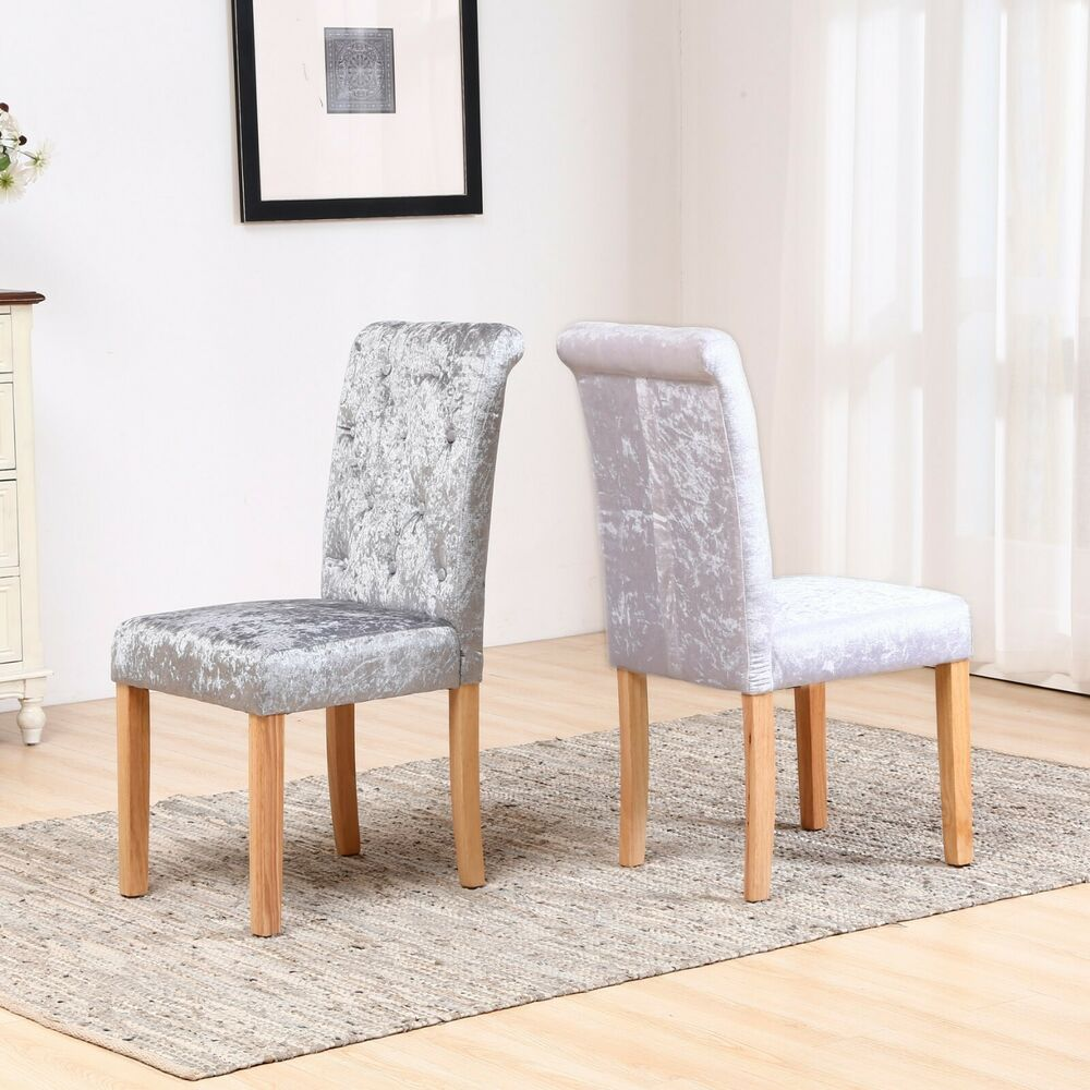 Best Dining Room Chairs: Crushed Velvet Button High Back Roll Top Seat Dining Room