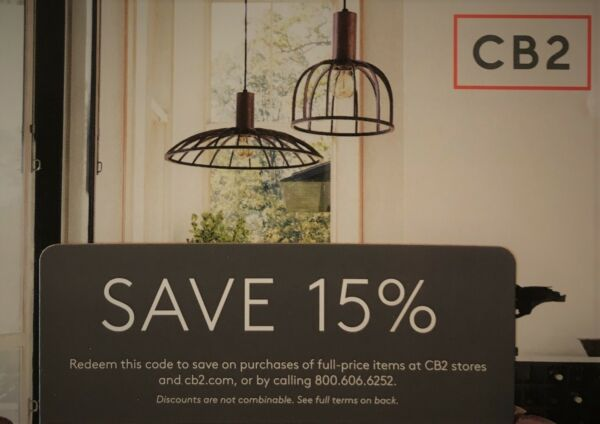 CB2 - 1coupon for 15% off purchase in store or online at cb2.com - Exp.04/30/19