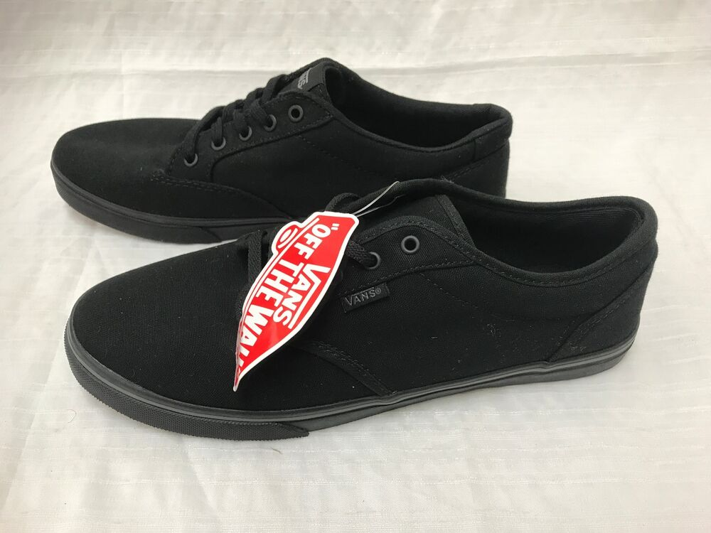 New! Youth Girls Vans TB4R Atwood Low Textile Canvas Black A4  90aab15abc