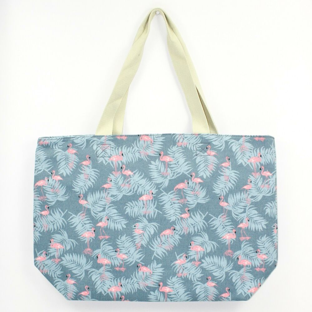 Details about maxi large oversize canvas flamingo print blue shopper tote  beach bag jpg 1000x1000 Flamingo 7c7411de88f43
