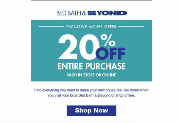Bed Bath and Beyond  20% Off Entire Purchase 1coupon - expires 03-31-2019
