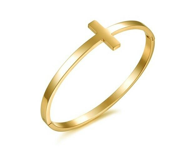 d41fbe7bf6d Details about 316L Stainless Steel gold cross cuff Bracelet Round bangle  for women Jewelry