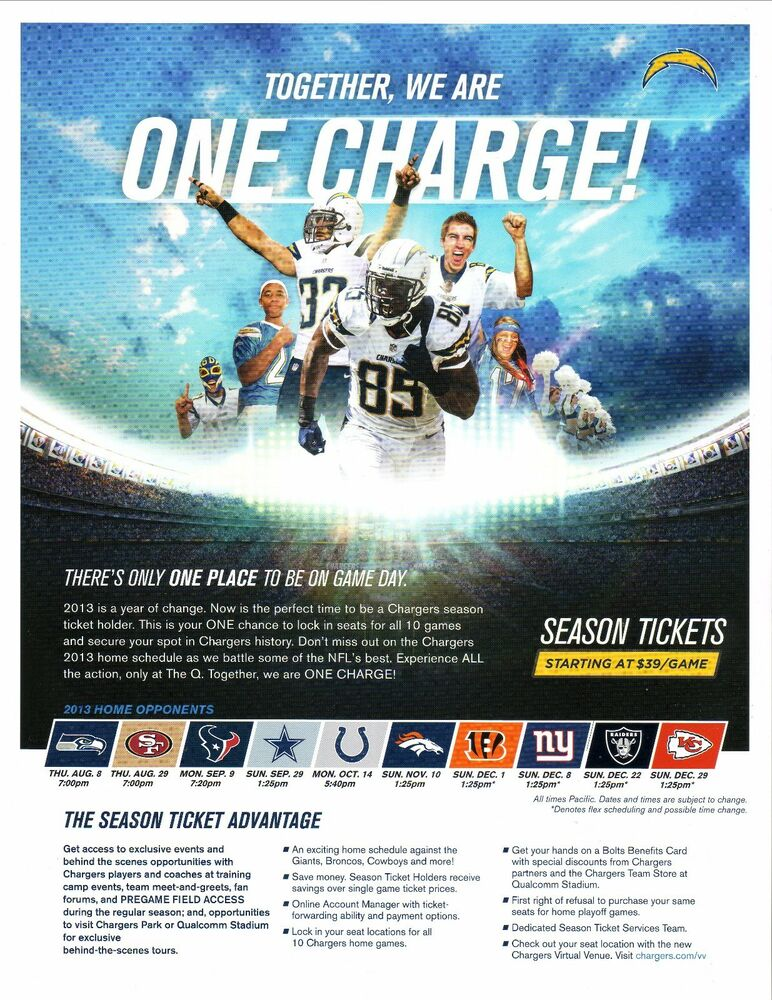 San Diego Chargers 2013 Season Ticket Sheet Home Schedule Gates