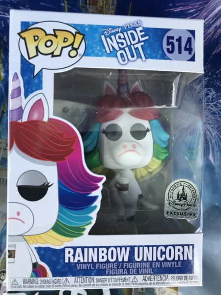 Funko Pop Disney Parks Exclusive Pixar Inside Out Rainbow Unicorn #514 New