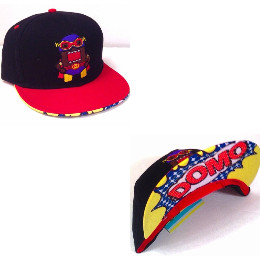 30d5bed2aef Details about DOMO SUPERHERO SNAPBACK HAT Comic Book Theme Cap  Black Red Blue Yellow Cartoon