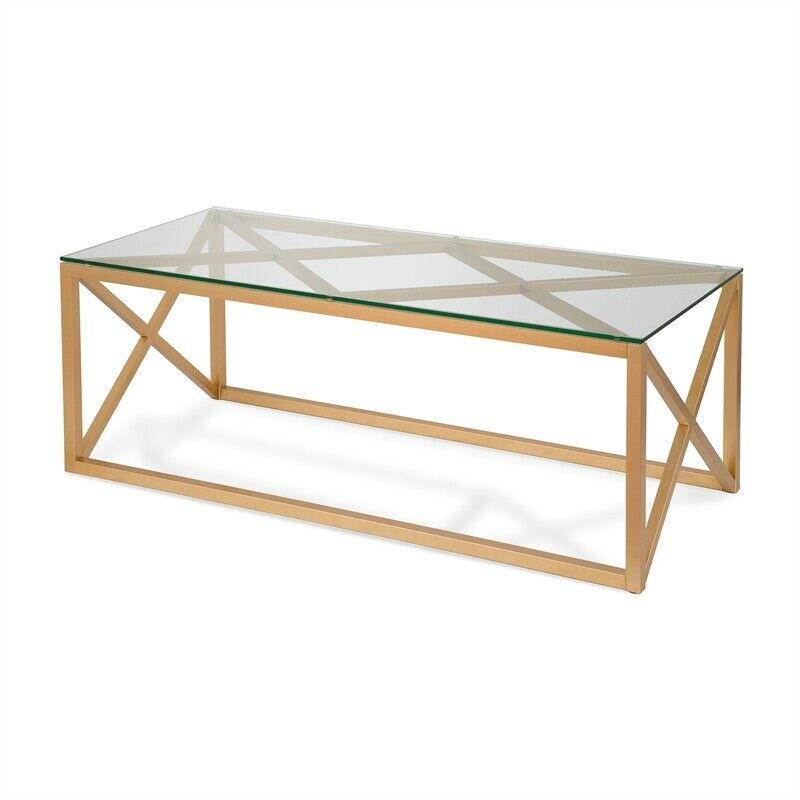 Details About Gold Geometric Coffee Table