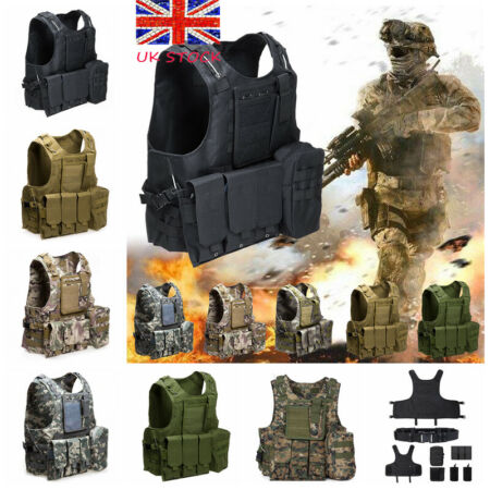 img-Military Army Tactical Vest Adjustable Combat Assault Airsoft Molle Carrier UK