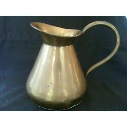 VERY NICE RUSTIC BRASS JUG - APPROX. MAX. DIMENSIONS = 8