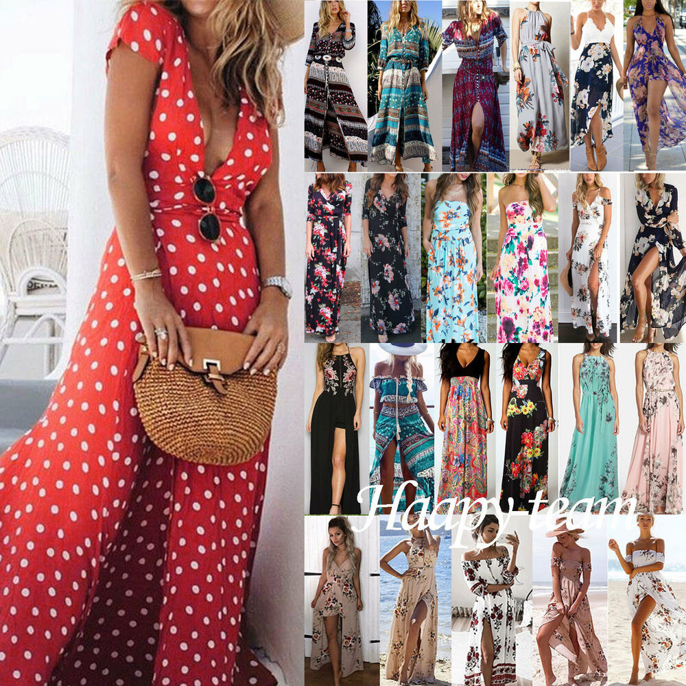 3c7b72bc745 Details about Womens Boho Floral Maxi Dress Party Evening Summer Beach  Sundress Plus Size
