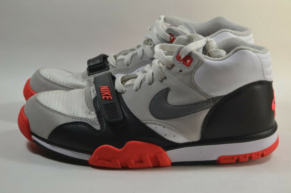 size 40 22eb6 ecefd Details about Pre-owned Nike Air Trainer 1 Mid Infrared QS White Grey Black  607081 100