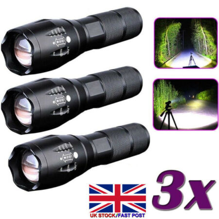 img-Police 60000LM T6 LED 18650 Super Bright Zoom Flashlight Powerful Lamp Torch UK