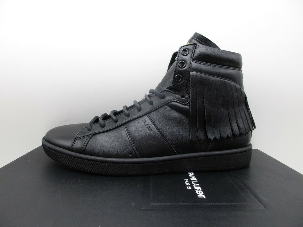 1103767bec2 Details about Saint Laurent YSL Mens Fringe SL/18H Black High Top Sneakers  Flats 39