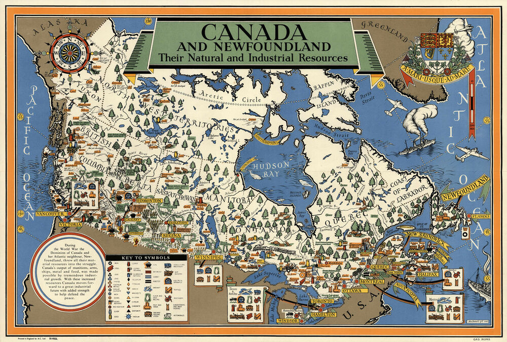 Map Of Canada Resources.Early Map Canada Newfoundland Natural Industrial Resources Wall