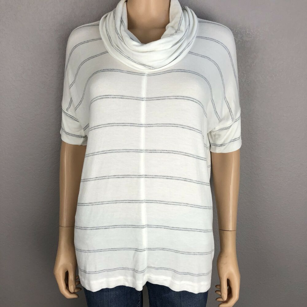 4c9c3ffbb64 Details about Lou & Grey Women's Striped Cowl Neck Tunic Size XS Short  Sleeve White Gray