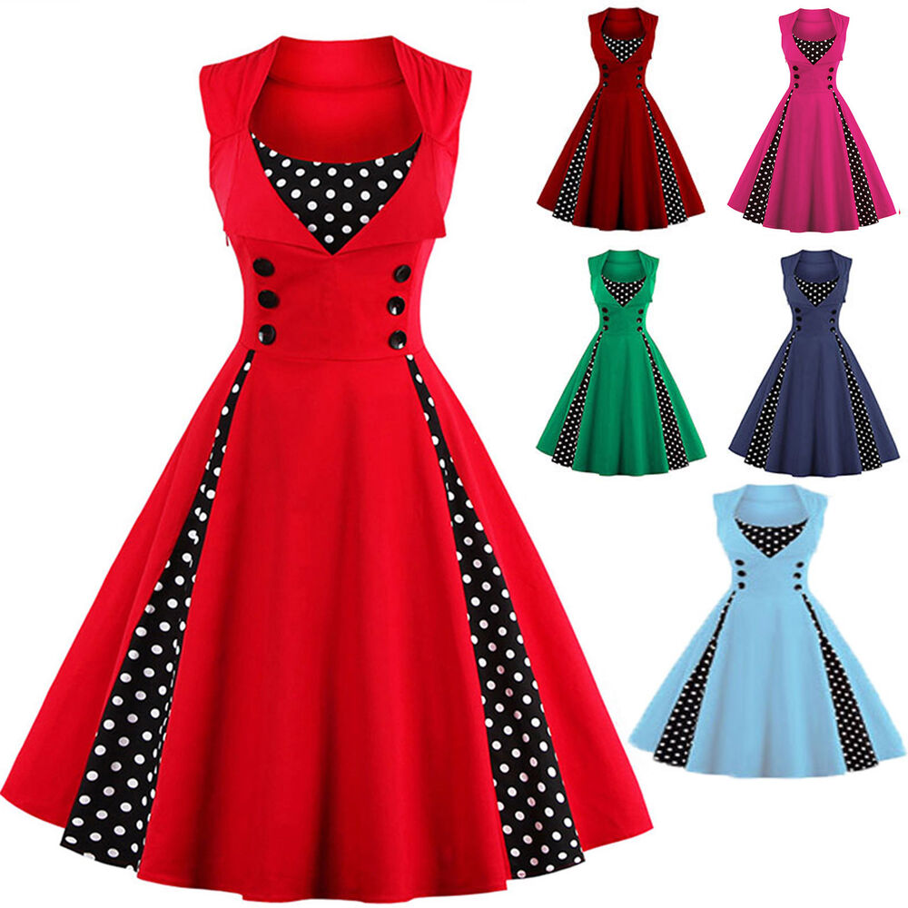 1bed3f8a1d Details about Women s Vintage 60s 50s Rockabilly Swing Pinup Slim Evening  Party Skater Dress
