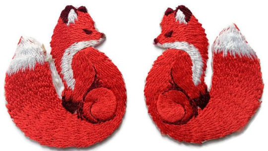 Pair red fox iron on embroidered cute animal countryside applique ebay