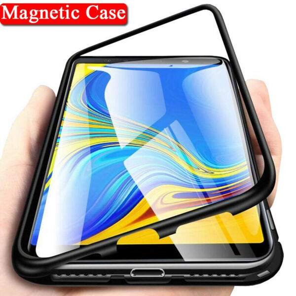 Magnetic Adsorption Glass Case Cover For Samsung J4 J6 J8 Plus A7 A9 M30 A30 A50